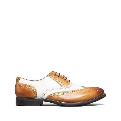 67fdff6eba9 Mister Carlo Monty Mens Leather Brogue Lace Ups Tan White  Amazon.co ...
