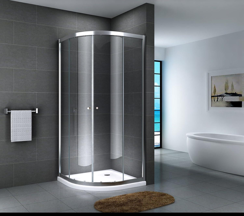 Cabina de ducha de esquina de vidrio ESG, ducha redonda, puerta corredera satinada, Multicolor: Amazon.es: Bricolaje y herramientas