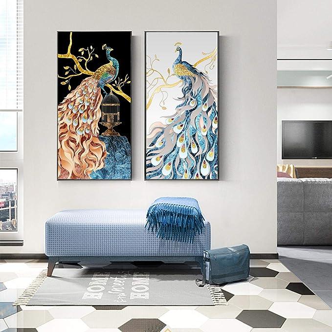 YQLKC Impresión HD Fancy Pavos Reales de pie en la Jaula de Ramas Pintura de Lienzo Moderna para Porche Sala de Estar Decoración de Oficina 23.6