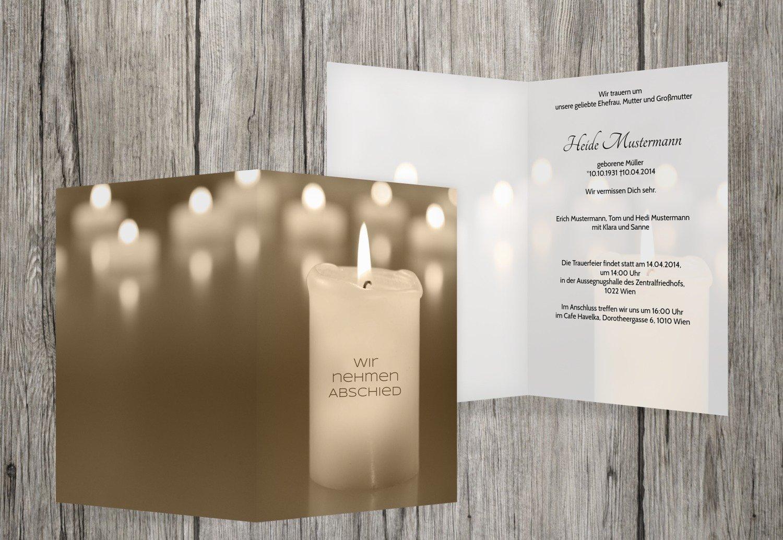 Tarjeta de luto velas, beige, 90 Karten