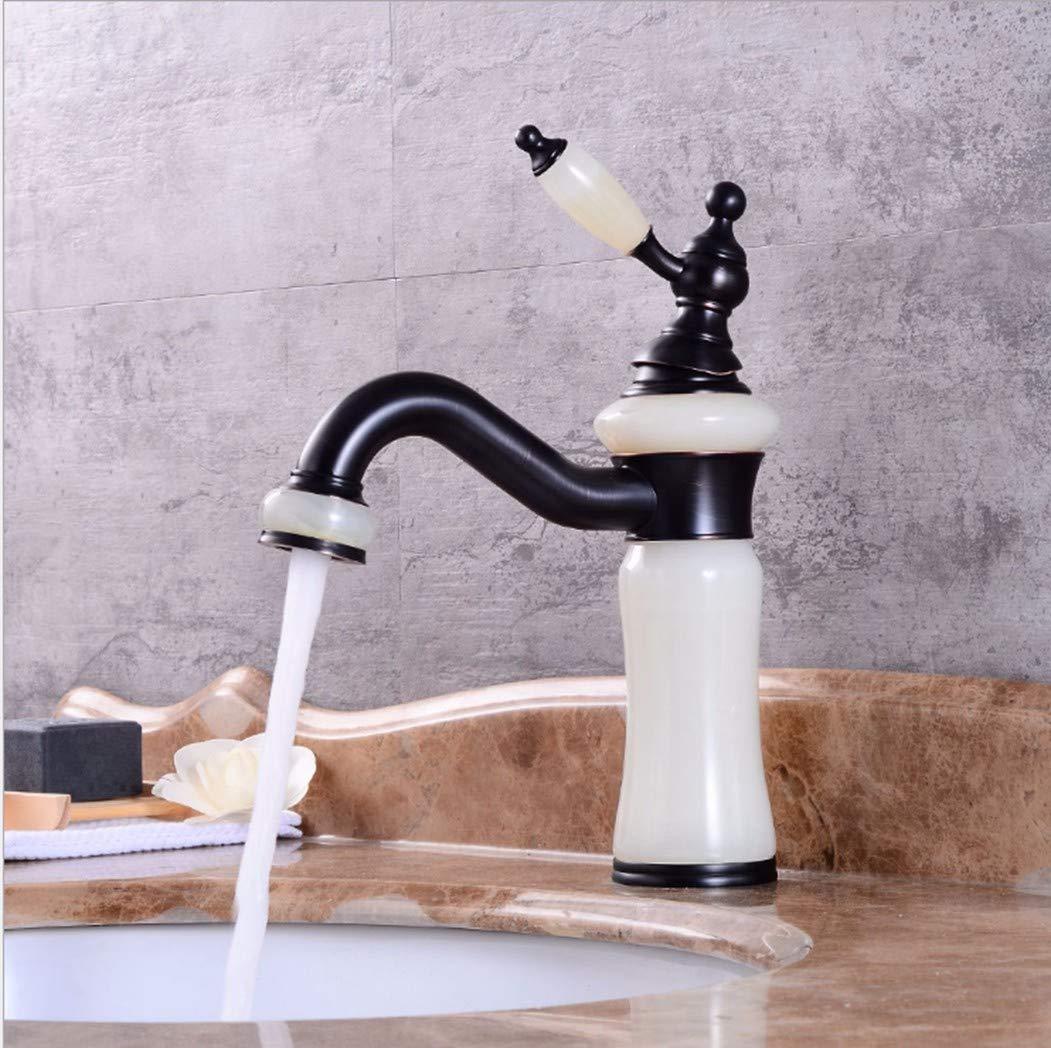 GiiWii Badezimmer Weißer Jade Hahn Retro Kupfer Metall Für Waschbecken Kaltes Und Warmes Wasser Mischen Drehbar