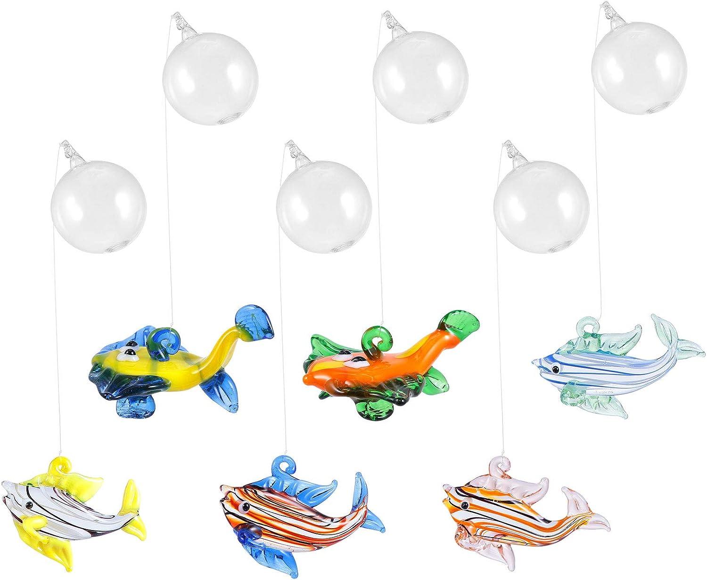 6 PCS Aquarium Float Ball Decoration Fish Tank Blown Glass Fish Figurine