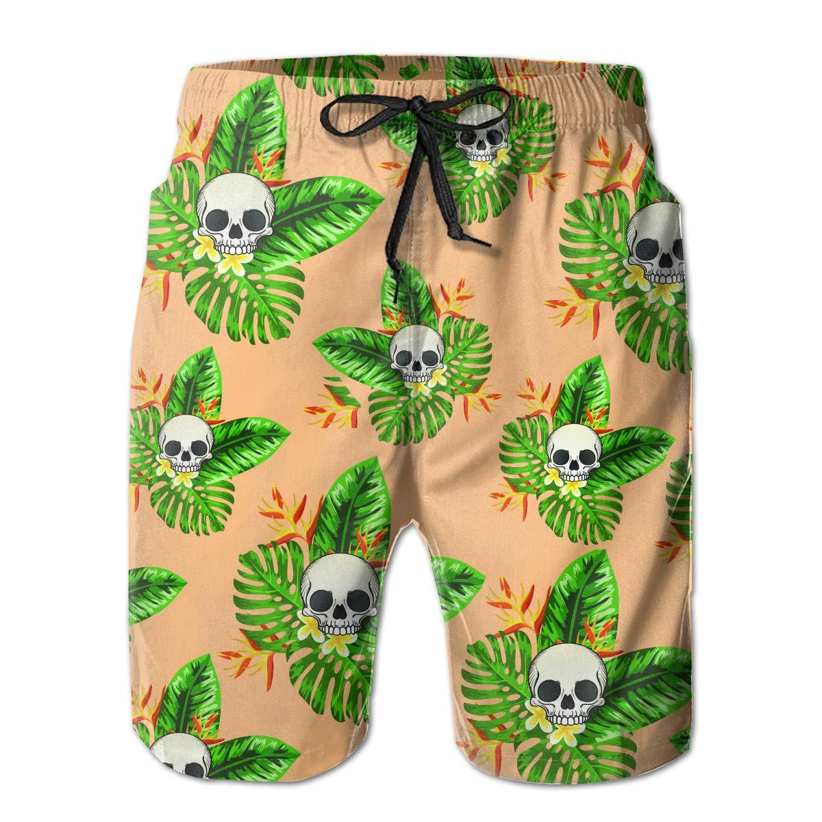 FRS Ltd Skulls Leaves Mens Quick Dry Swim Trunks Beach Board Short Drawstring Casual Athletic Shorts