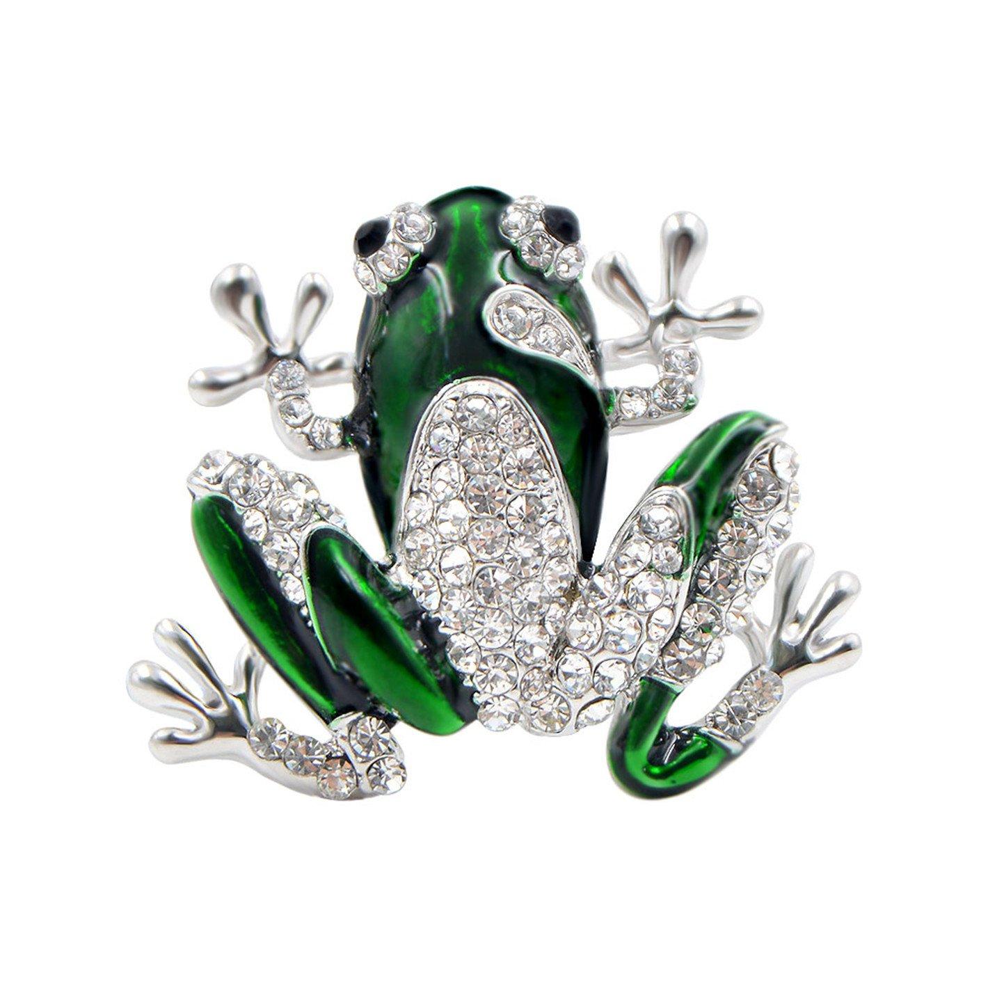 Rhinestone Green Frog Brooch Unisex Cute Animal Brooch Pin Women Men Dress Coat Accessories