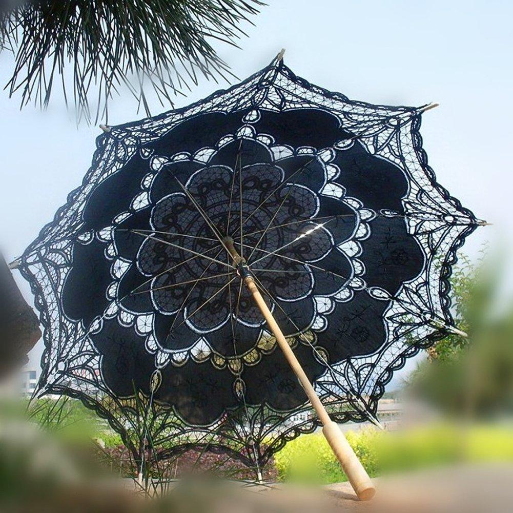 Ladeyi Lace Umbrellas, Handmade Bridal Parasol Umbrella Wedding Decoration (Black) by LADEY (Image #1)