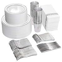800 Piece Silver Dinnerware Set-200 Silver Plastic Plates-300 Silver Plastic Silverware Set-100 Cups-100 Napkins-100 Paper Straws, Silver Dinnerware Set