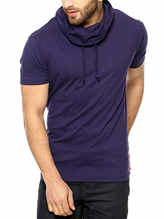 GRITSTONES Navy Half Sleeve Cowl Neck T-Shirt Men's T-Shirts at amazon
