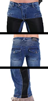 YuanDian Hombre Verano Jeans de Moto Vaquero Pantalones de Moto Denim con Protectores de Rodilla y Cadera Stretch Slim Fit Malla Transpirable Cargo Motociclista Tejanos Pantalon
