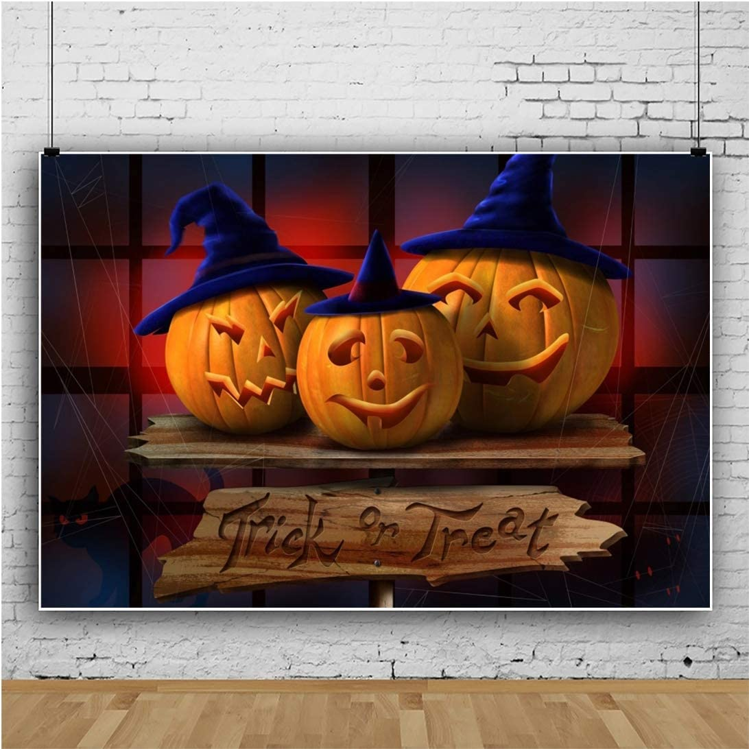 Halloween Background 8x6ft Trick or Treat Photography Backdrop Wooden Table Smile Grimace Pumpkin Black Cat Witch Hat Spider Web Holiday Decor Baby Kid Hallowmas Portrait Shoot Poster