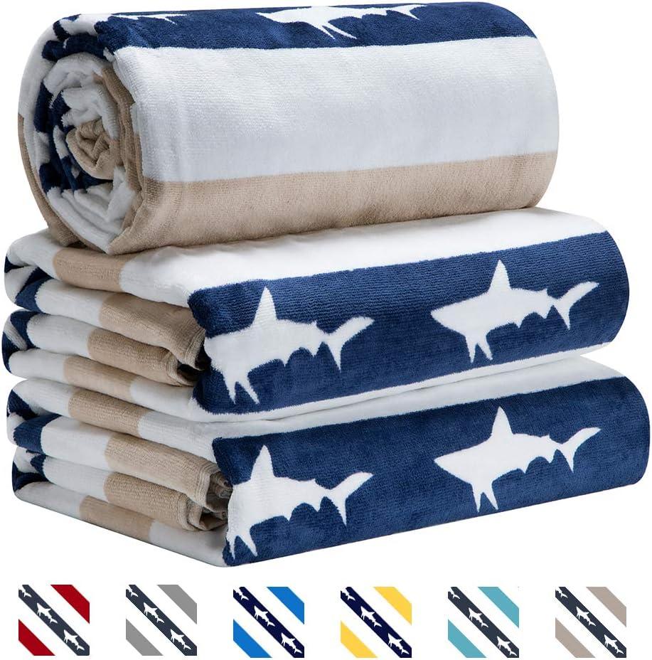 CABANANA Large Oversized Beach Towel - Velour Cotton Print 35 x 70 Inch Blue Brown Striped Sand Free Pool Towel, Big Summer Mens Swim Cabana Towel