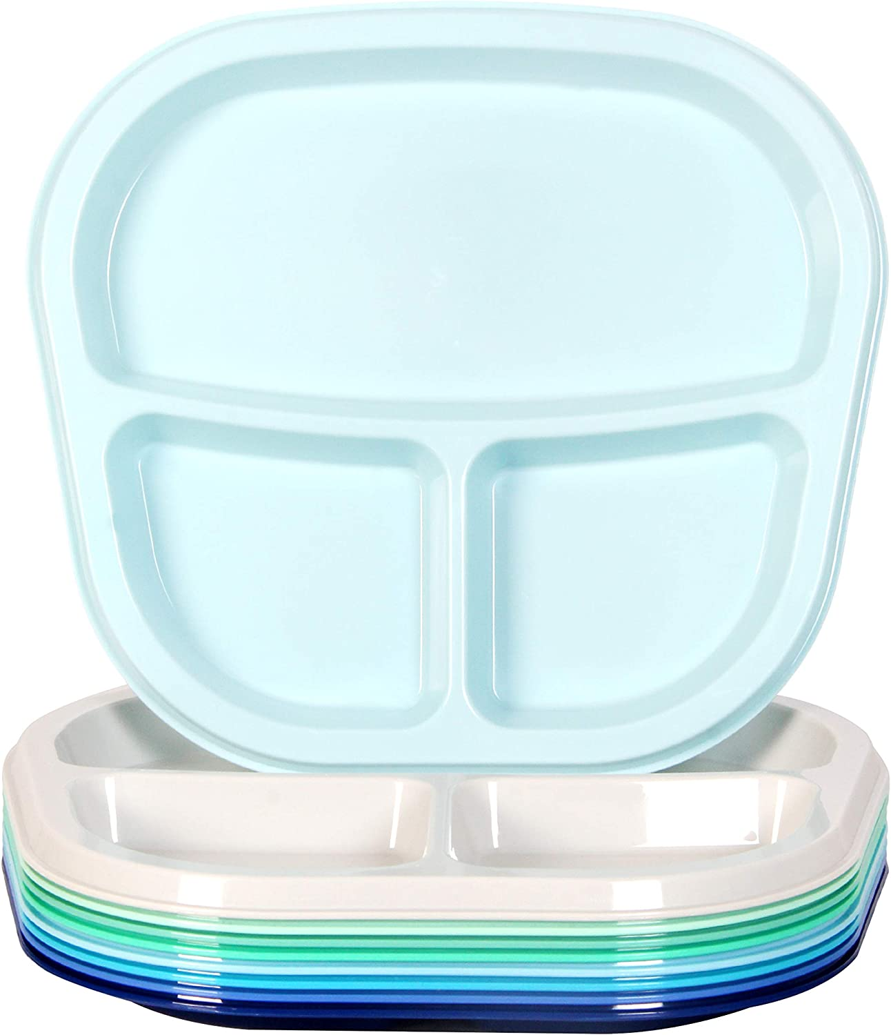 Youngever 3-Compartment Divided Plastic Kids Tray, 3 Compartment Plates, Set of 9 in 9 Coastal Colors