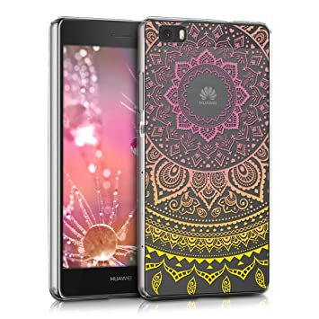 kwmobile Funda para Huawei P8 Lite (2015) - Carcasa de [TPU] para móvil y diseño de Sol hindú en [Amarillo Rosa Fucsia Transparente]