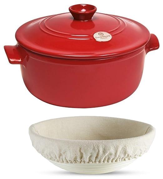 3 piezas Set: Emile Henry cerámica horno holandés olla Pan Pot ...
