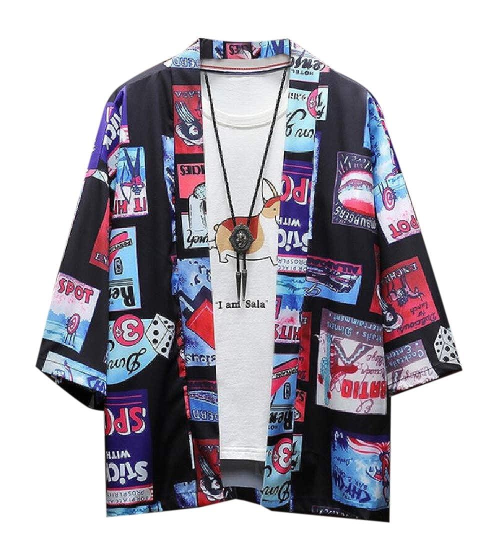 BingSai Kimono Chaqueta Japonesa 3/4 Mangas Abrir Frontal ...