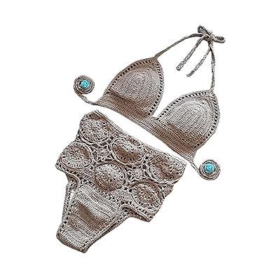 Igemy 1 Satz böhmisch Frauen Push-Up Handgefertigt Gestrickt Bikini Set  Bademode BH Badeanzug Beachwear