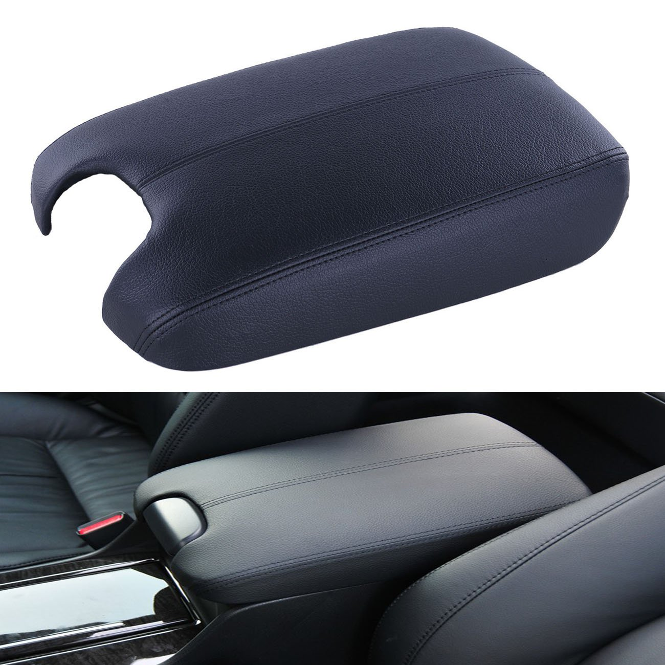 Tips4wise 1pcs PU Leather Console Lid Armrest Cover Tan Black For 2008-2012 Honda Accord