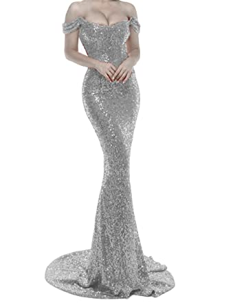 dd9cadd502 YSMei Womens Long Sequin Mermaid Off Shoulder Prom Formal Evening Wedding  Party Dresses Gray 2