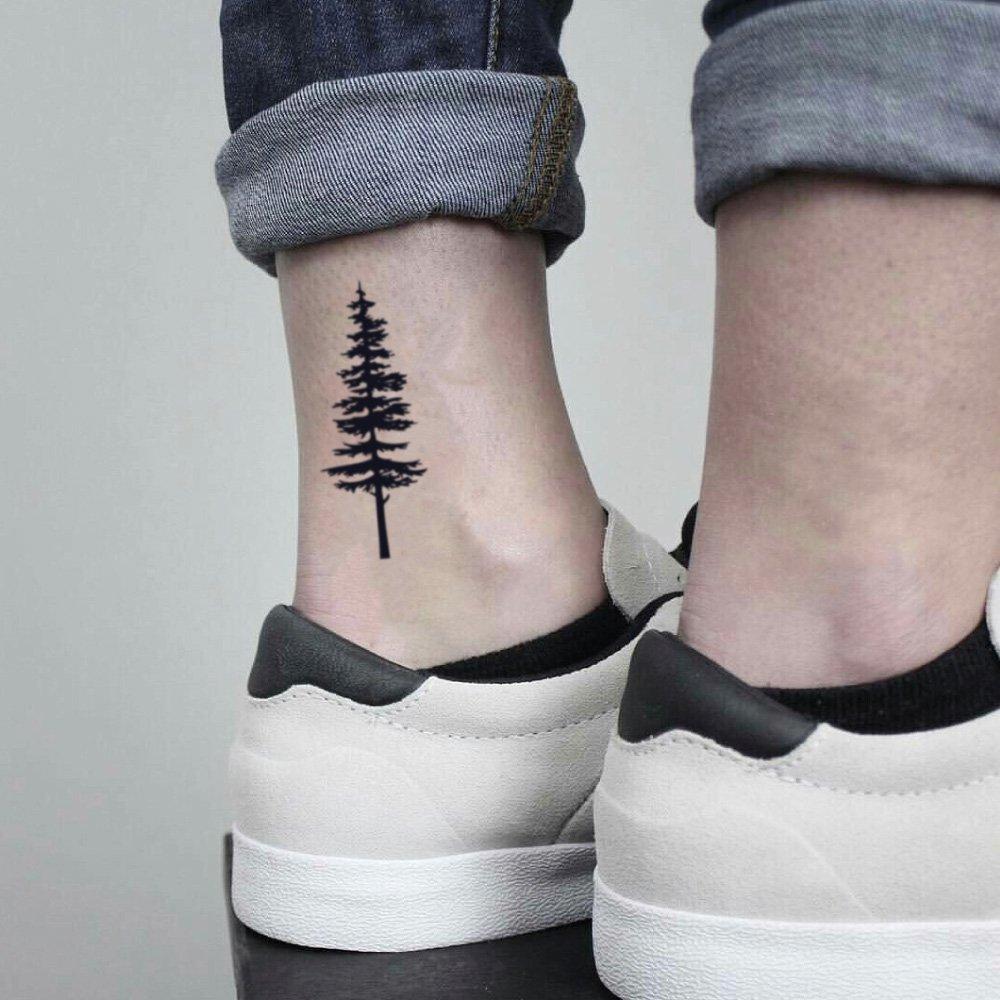 Pine Tree Temporary Fake Tattoo Sticker (Set of 2) - TOODTATTOO.COM TOOD TATTOO