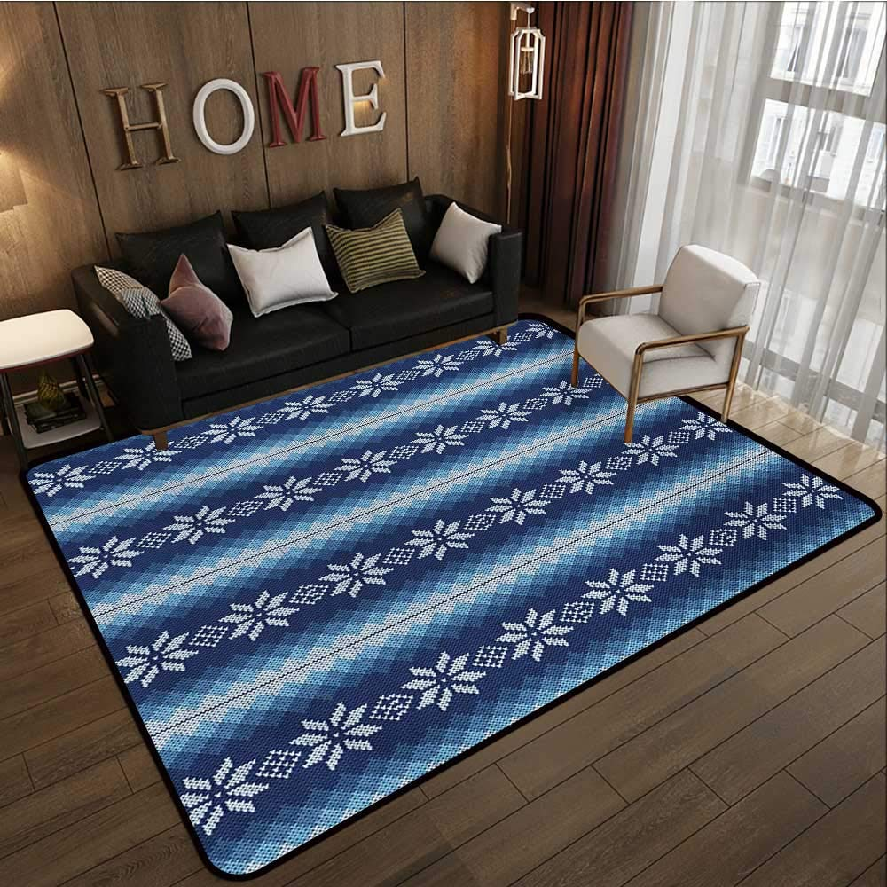 Indoor Floor mat,Traditional Scandinavian Needlework Inspired Pattern Jacquard Flakes Knitting Theme 6'x9',Can be Used for Floor Decoration by BarronTextile (Image #2)