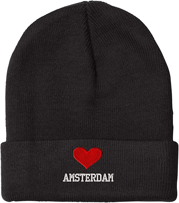 Amazon.com  I Love Heart Amsterdam Netherlands City Embroidered Beanie Cap   Clothing 6b29027f8da