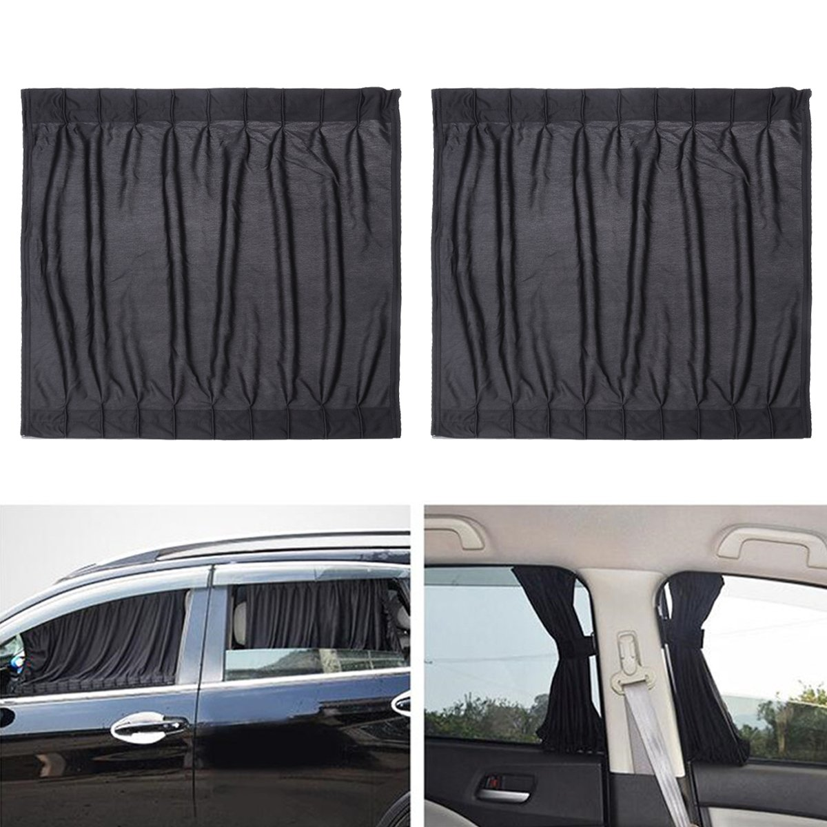 VORCOOL Car Side Window UV Protection Curtain Car Slidable Window Shield 2pcs (Black)