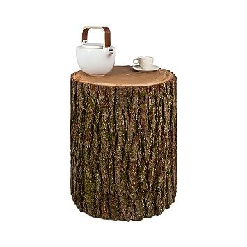 Geliebte Beistelltisch Baumstamm Eiche mit Rinde, in Handarbeit gefertigt &LD_32