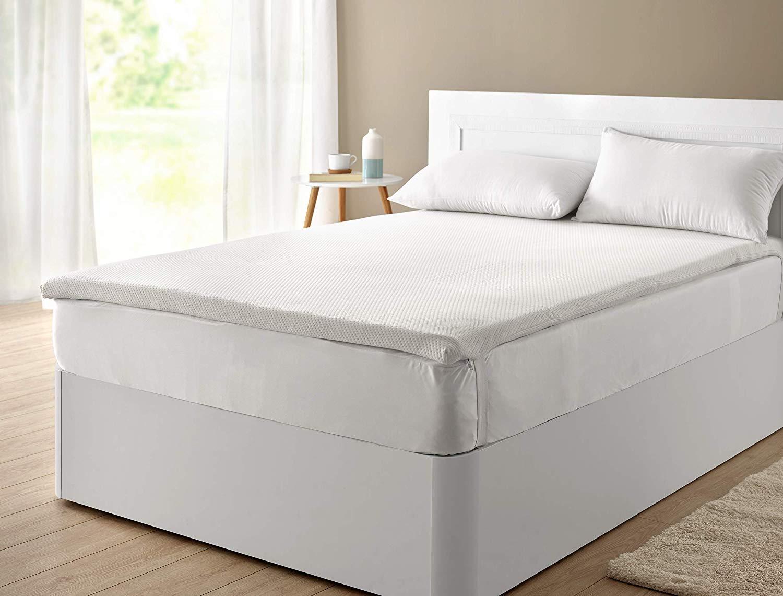 Classic Blanc - Topper/sobrecolchón viscoelástico confort plus, Aloe Vera, firmeza media, altura 5cm. 135x190cm-Cama 135 (Todas las medidas)