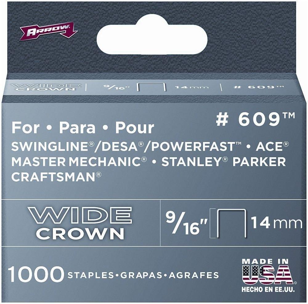 Arrow Fastener 60930 9//16 Wide Crown Heavy Duty Staples 2-Pack #609