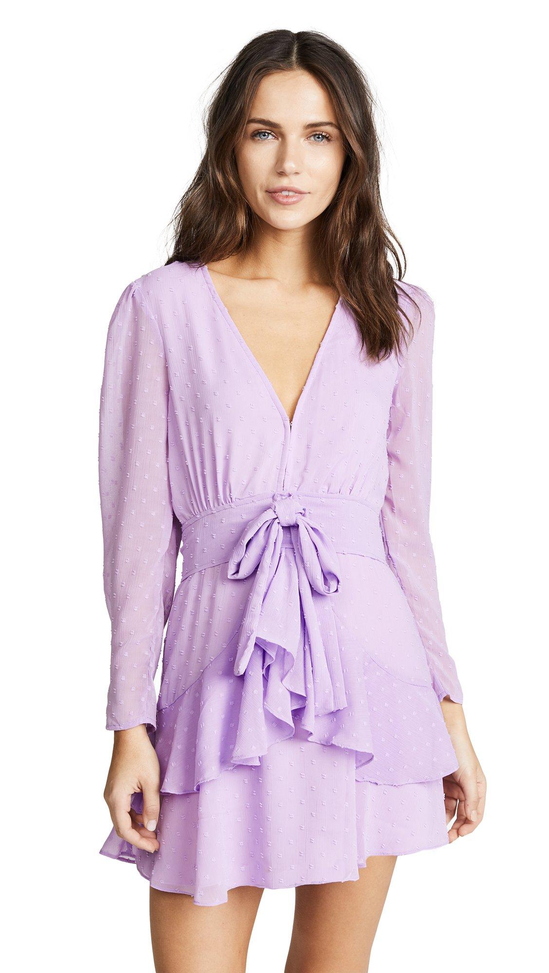 For Love & Lemons Women's Tarta Long Sleeve Mini Dress, Lilac, Small