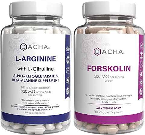 Ultimate Nitric Oxide Booster & Weight Loss Bundle – L-Arginine with Citrulline & Forskolin Extract, Potent Formula Natural Herbs for Bodybuilding, Exercise Performance, Energy Support, Max Slim Look