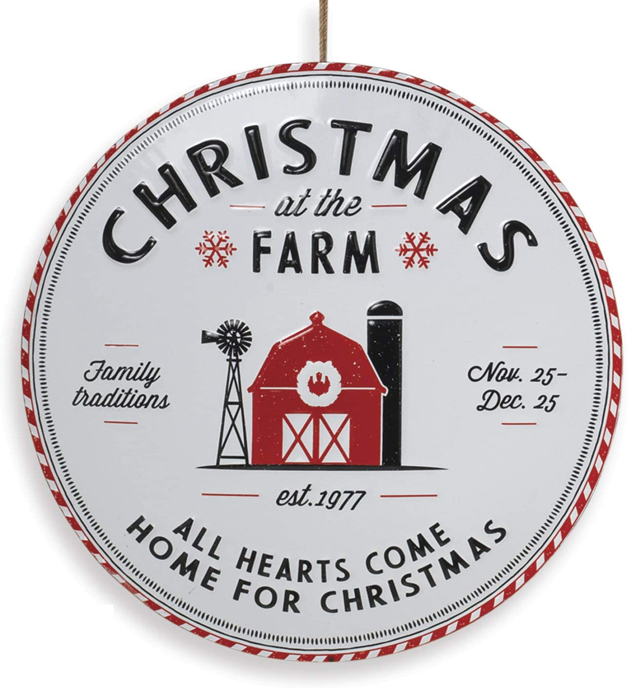 "13.5-Inch Vintage Embossed Metal Round Country ""Christmas at The Farm"" Sign – Rustic Hanging Holiday Wall Art Decoration – Indoor Outdoor Farmhouse Decor for Home, Front Porch, or Kitchen"