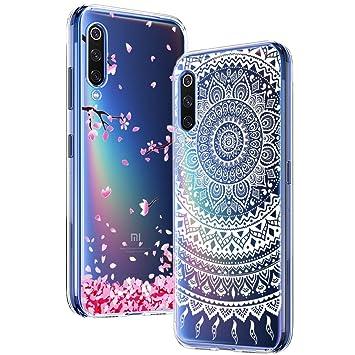 Yoowei [2-Pack] Funda para Xiaomi Mi 9, Transparente con Dibujos Ultra Fino Suave TPU Silicona Protector Carcasa para Xiaomi Mi 9 (Flores de Cerezo, ...