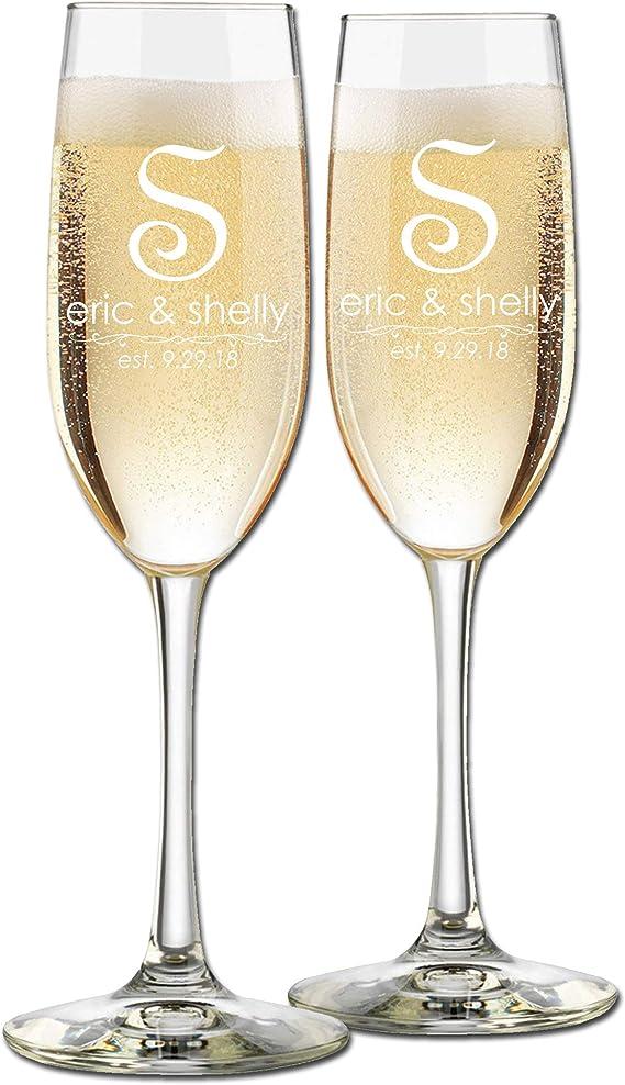 Custom Wedding Champagne Flutes- Set of 2 – Single Initial French Monogram