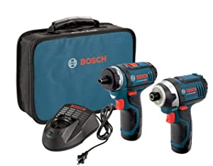 Bosch CLPK27-120 12V Max2-Tool Combo Kit (Drill/Driver and Impact Driver) with 2 Batteries, Charger and Case