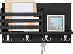 Dahey Wall Mounted Mail Holder Wooden Mail Sorter Organizer with 4 Double Key Hooks and A Floating Shelf Rustic Home Decor for Entryway or Mudroom,Black