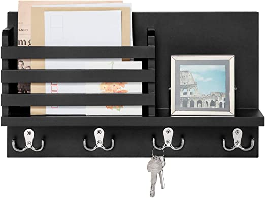 Kitchen Home Office DOKIO Wall Mount Mail Holder Wood Green Village Entryway Mail Organizer Wall Mount with 2 Hooks for Mudroom