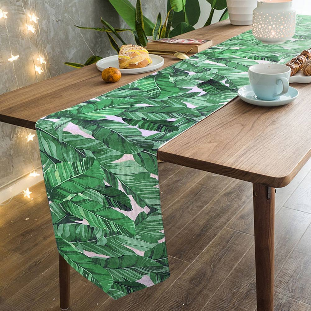 AerWo 12 x 87 Inch Cotton Linen Banana Leaf Table Runners Green Table Runner for Tropical Party Decoration and Hawaiian Luau Party
