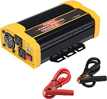 NEW 3000W Peak Car Solar Power Inverter DC 12V to AC 110V Dual 2.1A USB Charger