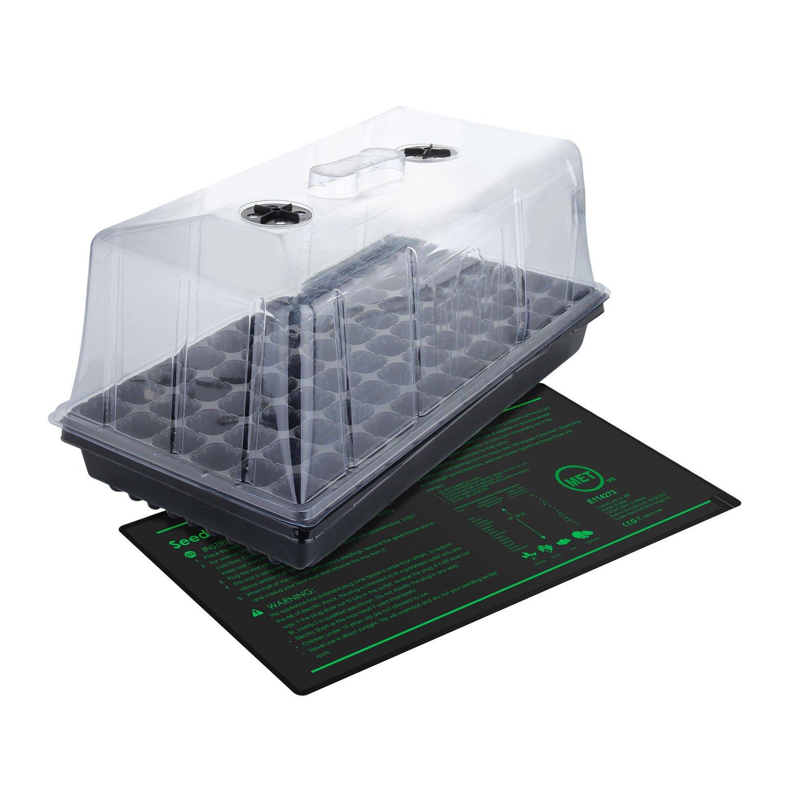 Growneer 10'' x 20'' Waterproof Seedling Heat Mat 7.5'' Dome Germination Station Combo Kit