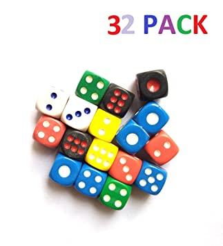 ISHARAA 32PCS Game Dice Creative Acrylic Dice 6-Sided Dice for Party Game