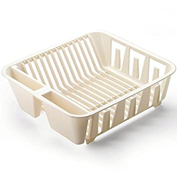 amazoncom rubbermaid antimicrobial in sink dish drainer small bisque 2 pack kitchen dining - Small Kitchen Sink With Drainer