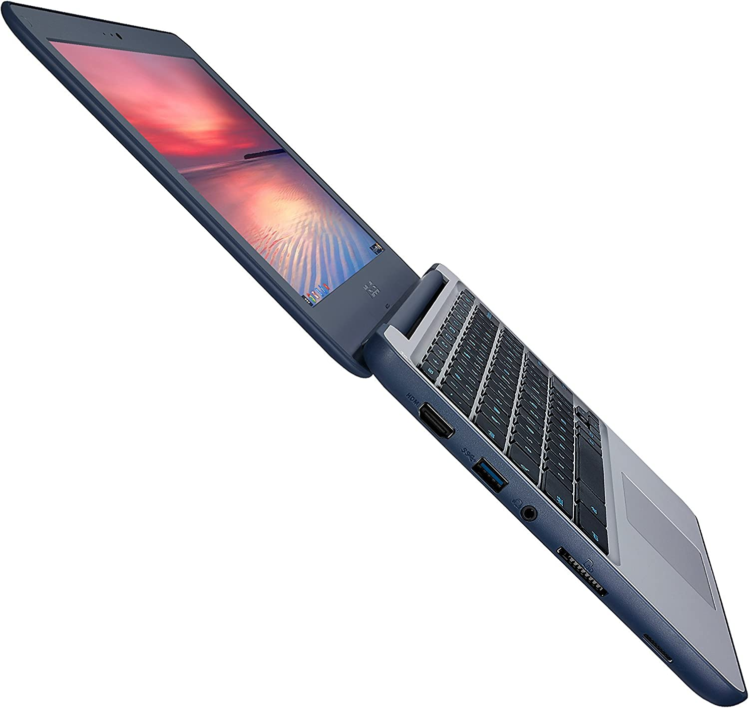ASUS Chromebook C202SA-YS02 11.6in Ruggedized and Water Resistant Design with 180 Degree (Intel Celeron 4 GB, 16GB eMMC, Dark Blue, Silver) (Renewed)