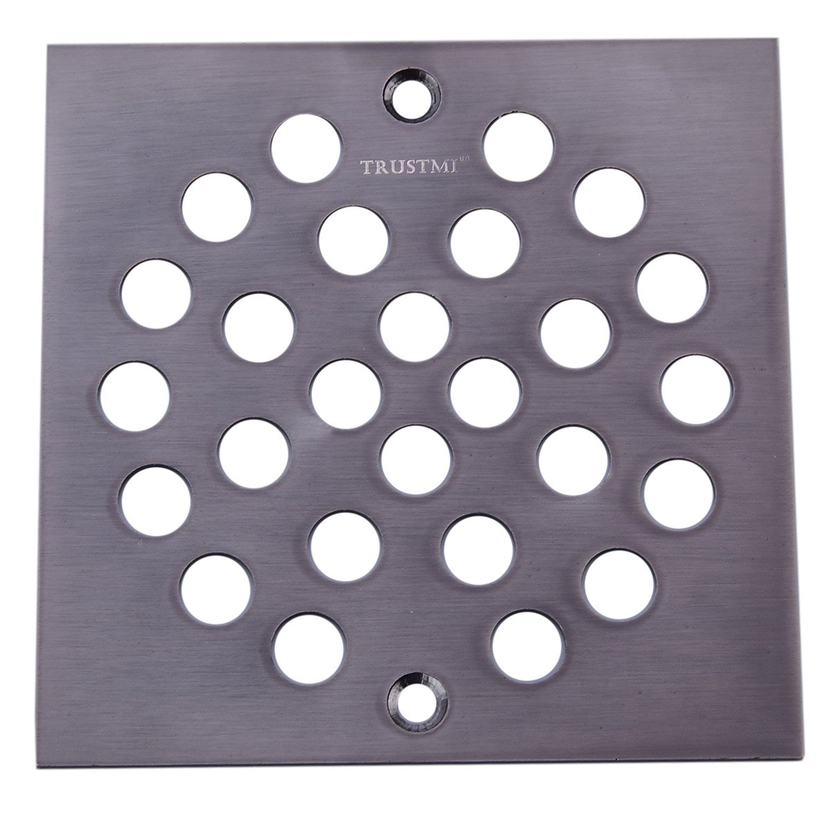TRUSTMI Square 4 Inch Screw-in Shower Floor Drain Cover Strainer, Oil Rubbed Bronze