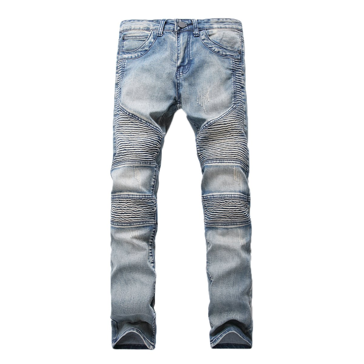 a45820e72a2 Biker jeans, Ripped jeans, Destroyed jeans, Distressed jeans, Straight fit.  Vintage and casual style with ripped holes at knees