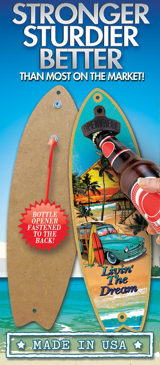 (SJT07210) Home is where the beach is (boat & water image) Bottle Opener 5'' x 16'' Surfboard Plaque