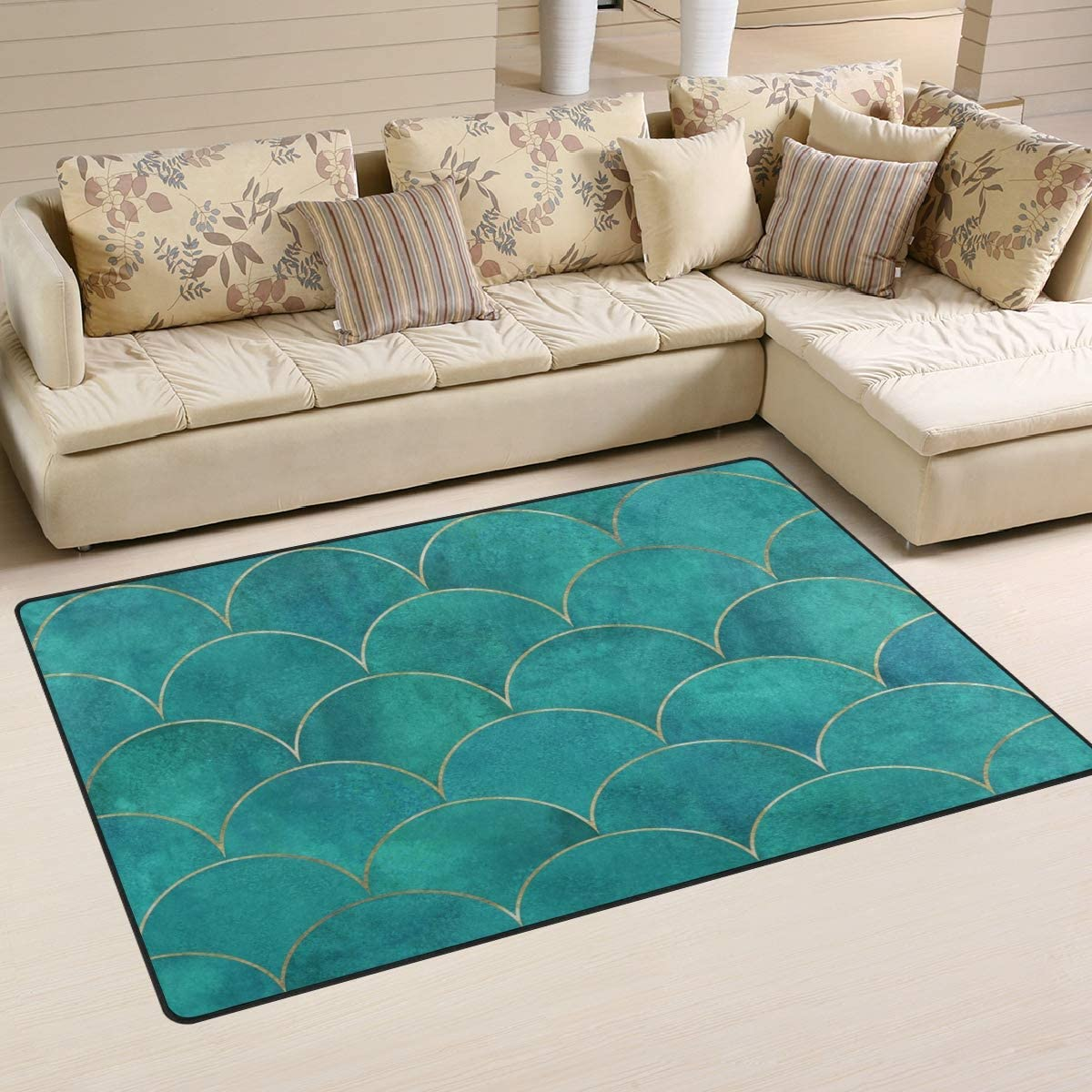 Comfort&products Non-Slip Area Rugs Home Decor, Japanese Teal Mermaid Fish Scale Floor Mat Living Room Bedroom Carpets Doormats Multi-Size