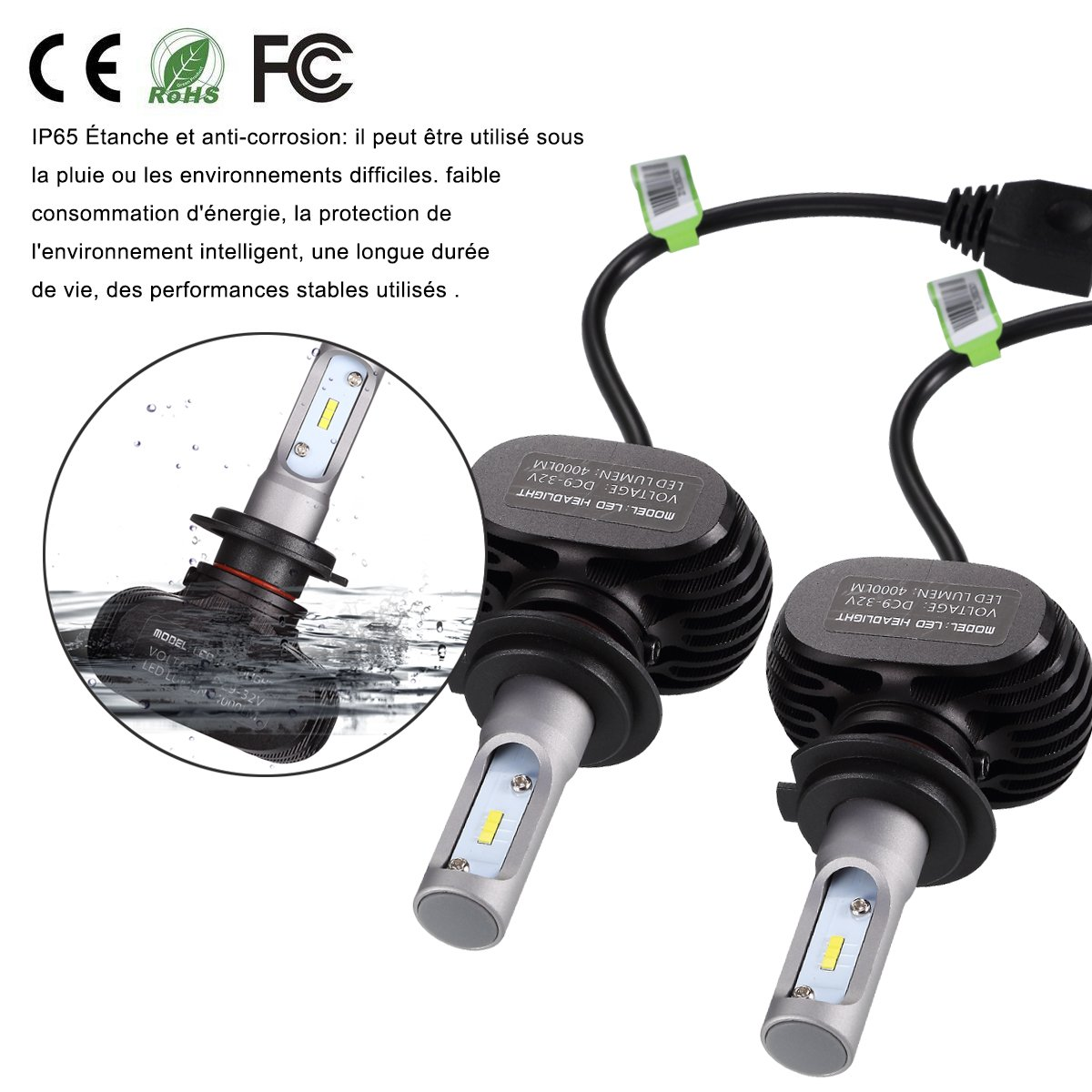 Greenclick 2*H4// H7 Seoul-CSP LED phares Voiture Ampoules Etanche IP65 Car Headlight LED V/éhicule Blanc Pur 6000-6500K Tout-en-un kit de conversion. H4, S1 plus