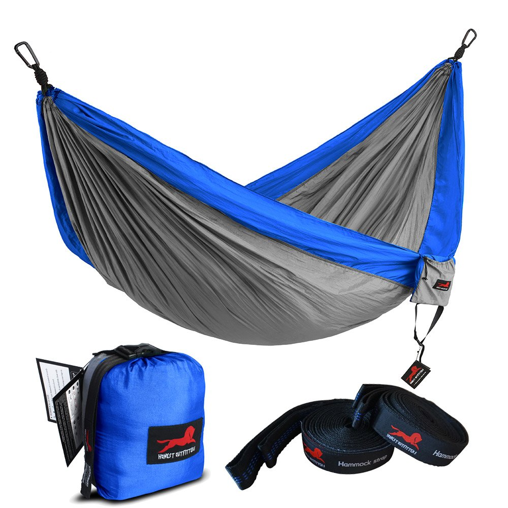 HONEST OUTFITTERS Single Camping Hammock with Basic Hammock Tree Straps,Portable Parachute Nylon Hammock for Backpacking Travel Royal/Grey 55'' W x 108'' L