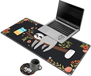 Larger Extended Gaming Mouse Pad, Non-Slip Base Desk Pad Keyboard Mat with Stitched Edges Sloth Hang Out in Tree Pattern Foldable Mat for Work & Desktop, Laptop Office & Home
