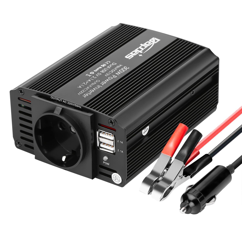 Bapdas 300W Inversor de Corriente, DC 12V, 220V-240V AC salida, Dual